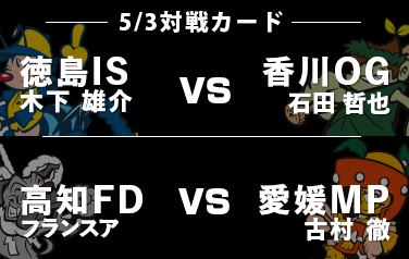 【予告先発】5/3 徳島ISはエ木下雄介、香川OGは石田哲也 高知FDはフランスア、愛媛MPは古村徹!